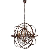 Columbus Antique Bronze 6 Arm Globe Chandelier