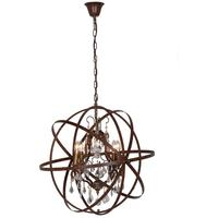 Columbus Antique Bronze 4 Arm Globe Chandelier