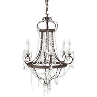 Burgundy Glass Bead 6 Arm Chandelier