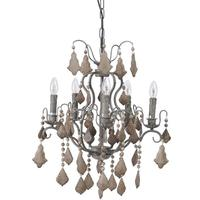 Pampol Wooden Contrast 5 Arm Chandelier