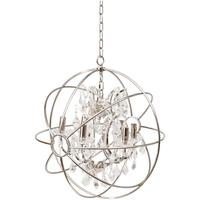 Chesterford Metal Globe Chandelier with Clear Pendants - Small