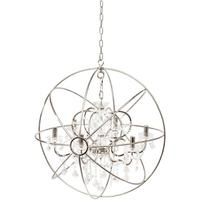 Chesterford Metal Globe Chandelier with Clear Pendants - Large