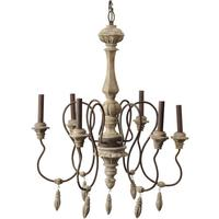 Chamonix Antique 6 Arm Chandelier with Wooden Pendants