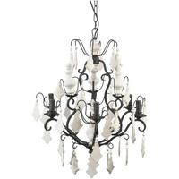 Pampol White Wood 6 Arm Chandelier