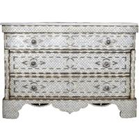 Bone inlay and marble chest of three drawers