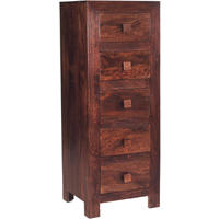 Dakota Mango Tall Boy Chest of 5 Drawers