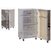 Polished Metal Travel Chest On Wheels