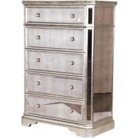 Venetian Mirrored Tallboy With Silver Trim