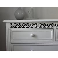Large White Fretwork Chest of Drawers