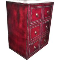 Red Leather Studded Chest of Drawers