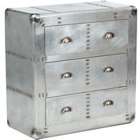 Aerospace Tarnished Silver Metal Chest Of Drawers