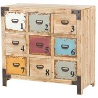 Industrial Multi Coloured 9 Drawer Chest