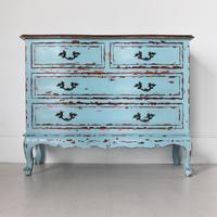 French Four Drawer Chest of Drawers in Turquoise