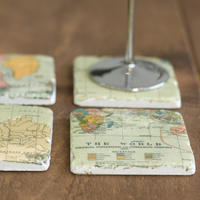 Vintage World Map Ceramic Coasters - set of four
