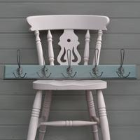 Blue Grey Painted Coat Rail with Hooks