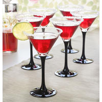 Set of 6 Black Stem Cocktail Glasses