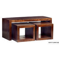 Dakota Mango John Long Cubed Coffee Table Set Walnut Colour