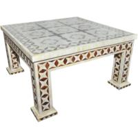 Brown Bone Inlay Coffee Table