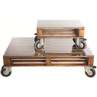 Industrial Glazed Pallet Table On Wheels