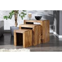 Nest of three tables solid wood sheesham coffee tables