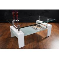 MALTA - design coffee table white clear glass table