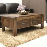 Chunky Solid Walnut Coffee Table with Drawers