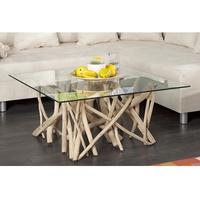 STICKS - design coffee table driftwood glass table