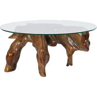 Root Wood & Glass Small Coffee Table