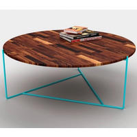 Pitch Pine Round Coffee Table with Turquoise Legs