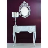 Embossed Silver Metal Console Table