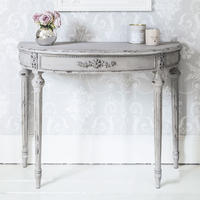 Grey Half Moon Console Table