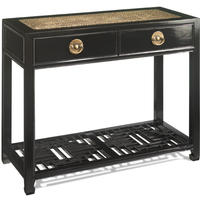 Carved Console Table - black lacquer