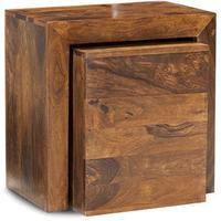 Cube Sheesham Cubed Nest of 2 Tables
