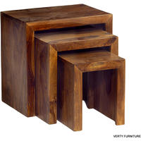 Cube Sheesham Nest of 3 Tables from Verty furniture