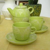 Green Cup and Saucer Set