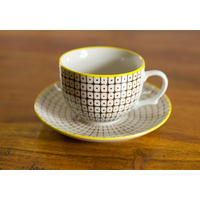 Carla Cup Saucer in Forest Green/Yellow