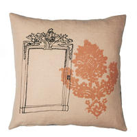 Hand-made natural linen cushion  – Pink Mirror Design 40cm