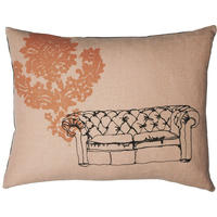 Hand-made natural linen cushion  – Pink Chesterfield Design