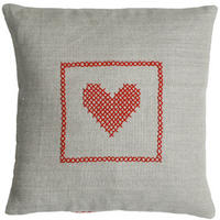 Hand cross stitch on natural linen  – Red Heart Design