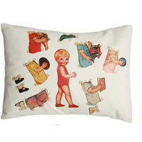 Handmade cushion on organic cotton – Leo vintage paper doll