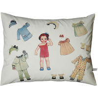 Handmade cushion on organic cotton – Leni vintage paper doll
