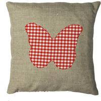 Handmade cushion on natural linen and cotton – Butterfly design