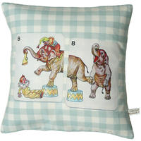 Handmade cushion on natural linen an cotton – tops and tails in the circus