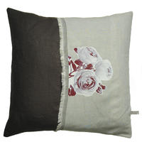 Handmade cushion on natural linen – Brown English Roses