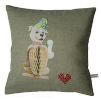 Handmade cushion on natural linen and cotton – Charlie loves his bone