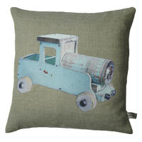 Handmade cushion on natural linen and cotton – Blue Vintage Truck