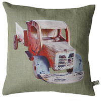 Handmade cushion on natural linen and cotton – Red Vintage Truck