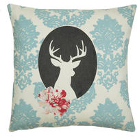 Handmade cushion on natural fabrics – blue deer cameo