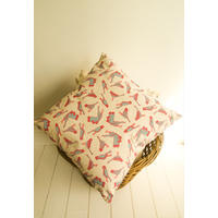 Hand screen printed cushions with blue and pink bird decal.  Perfect for your nest!