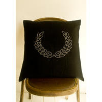 Hand Embroidered Linen Laurel Throw Cushion.  Hardy!